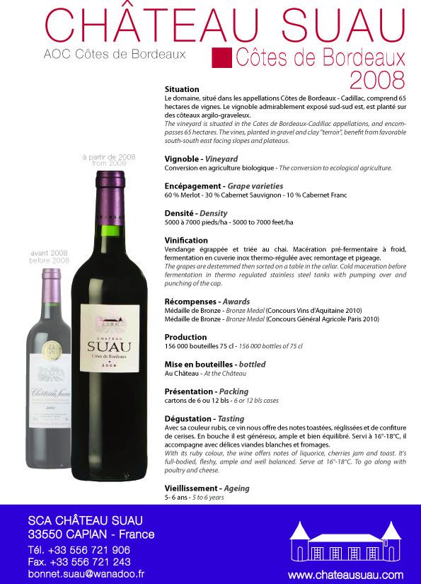 Suau Côtes de Bordeaux 2008 - press